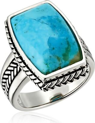 """Barse Basics"""" Genuine Turquoise Roped Ring Size 6"""