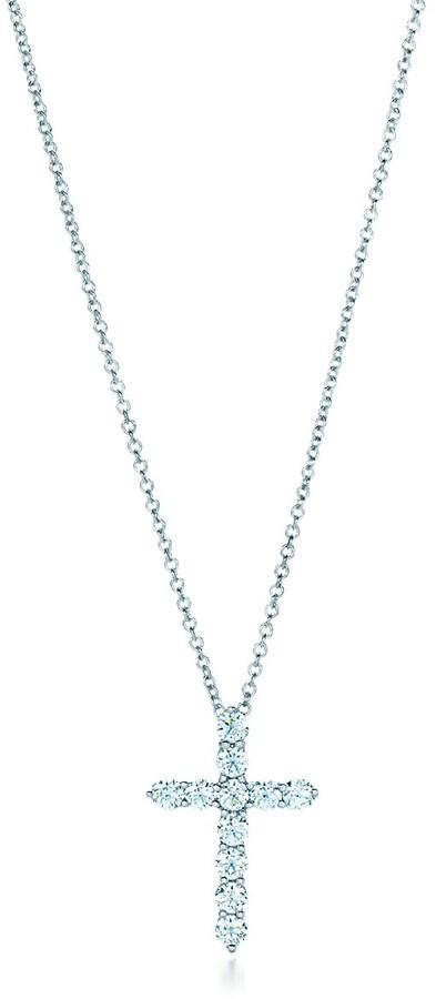 Tiffany & Co. Cross pendant in platinum with diamonds, small