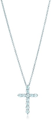 Tiffany & Co. Cross pendant in platinum with diamonds, small