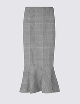 M&S Collection Checked Fishtail A-Line Midi Skirt