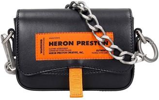 Heron Preston Label Mini Cana Shoulder Bag In Black Leather