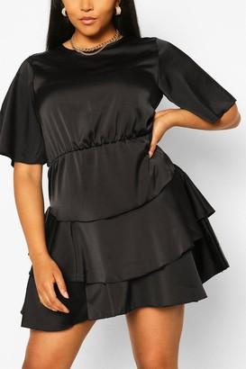 boohoo Plus Satin Ruffle Detail Skater Dress