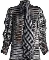 Fendi Puzzle-print tie-neck silk-blend blouse