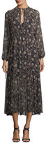 Robert Rodriguez Tiered Floral-Print Peasant Chiffon Maxi Dress