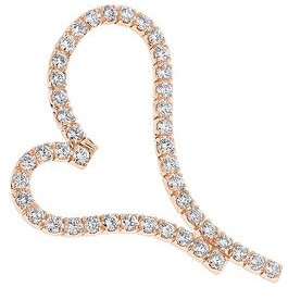 Ladies Large Open Heart Charm Diamond Pendant 4.84ctw in 14k Gold with Cable Chain by Luxurman