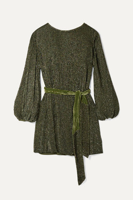 retrofete Grace Velvet-trimmed Sequined Chiffon Mini Dress - Army green