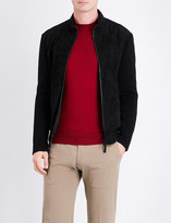 Armani Collezioni Knitted-sleeve suede jacket