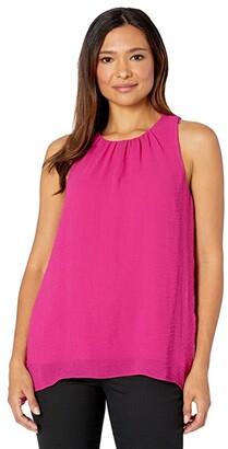 Vince Camuto Sleeveless Rumple Chiffon Blouse (Casbah Pink) Women's Clothing