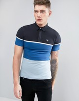 Armani Jeans Slim Fit Pique Polo Color Block in Blue