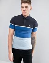 Armani Jeans Slim Fit Pique Polo Colour Block In Blue