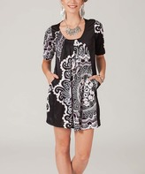 Aller Simplement Black & White Abstract Shift Dress