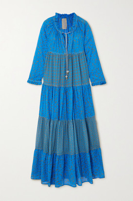 Yvonne S Hippy Tiered Printed Cotton-voile Maxi Dress - Blue
