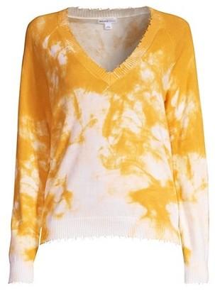 Minnie Rose Tie-Dye Distressed V-Neck Sweater