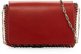 Paco Rabanne Small Leather Chain Shoulder Bag, Dark Red