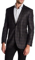 Peter Millar Brown Plaid Notch Collar Two Button Classic Fit Wool Sports Coat