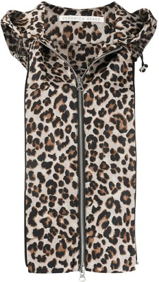 Veronica Beard Leopard Print Hooded Gilet