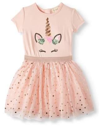 Btween Unicorn Short Sleeve Tulle Tutu Dress (Toddler Girls)