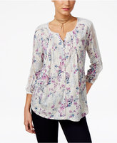 Style&Co. Style & Co Floral-Print Lace-Trim Top, Only at Macy's