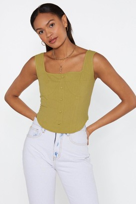 Nasty Gal Womens Cup To Speed Button-Down Linen Top - Green - 6, Green