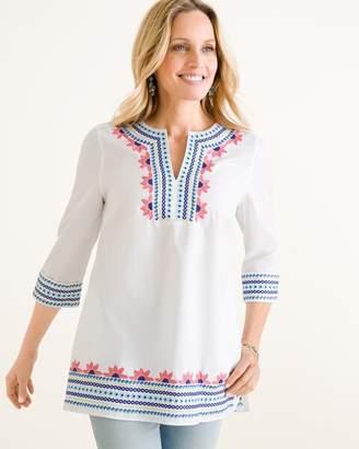 No Iron Cotton Multi-Colored Embroidered Tunic