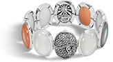 John Hardy Women's Bamboo Bracelet in Sterling Silver with Peach Moonstone and Pave Grey Diamond (1.33ct)