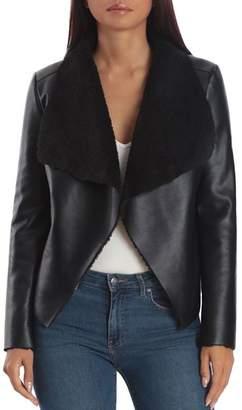 Bagatelle Faux-Leather & Sherpa Draped Jacket