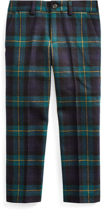 Ralph Lauren Kids Boy's Slim Fit Twill Wool Plaid Pants, Size 2-4