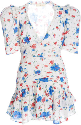 LoveShackFancy Arlo Ruched Floral-Print Cotton-Voile Mini Dress
