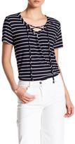 Gibson Lace-Up V-Neck Stripe Shirt