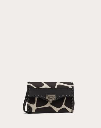 Valentino Small Rockstud Crossbody Bag In Giraffe Print Canvas Women Silver Cotton 100% OneSize