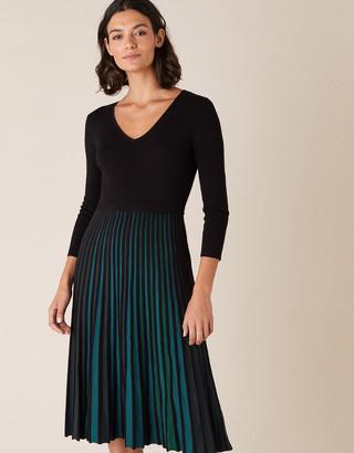 Monsoon Pleated Colour Insert Midi Dress Black