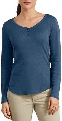 Dickies Misses Womens Henley Neck Long Sleeve Shirt
