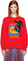 Gucci Red Embroidered Ufo Sweatshirt