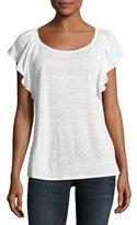 Joie Hava Linen Slub Ruffle-Sleeve T-Shirt, White
