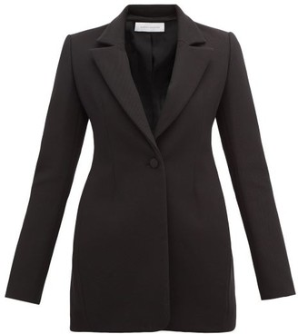 Marina Moscone - Single Breasted Longline Cotton Twill Blazer - Womens - Black