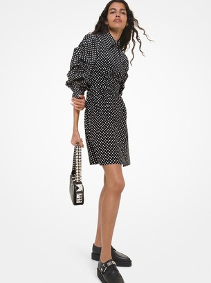 Michael Kors Classic Dot Poplin Crushed-Sleeve Shirtdress