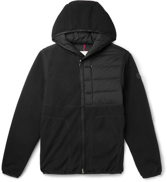 Moncler Feyder Panelled Fleece And Quilted Shell Hooded Down Jacket