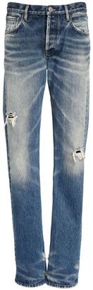 ATTICO Washed Cotton Denim Boyfriend Jeans