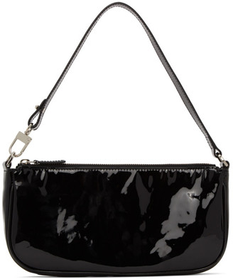 BY FAR Black Patent Rachel Baguette Bag