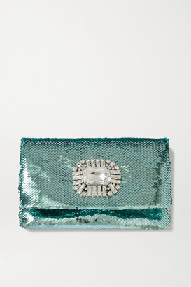 Jimmy Choo Titania Crystal-embellished Sequined Satin Clutch - Green