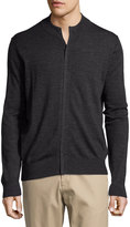 Neiman Marcus Wool Crewneck Zip-Front Jacket, Shadow