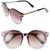 Tom Ford Women's Janina 53Mm Special Fit Round Sunglasses - Dark Havana/ Gradient Green