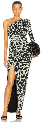 Alexandre Vauthier Giraffe One Shoulder Ruched Dress in Willow & Black | FWRD