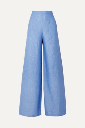Miguelina Pamela Linen Wide-leg Pants - Blue