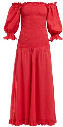 Rhode Resort Eva Smocked Off-the-shoulder Cotton Dress - Red