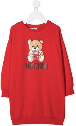 MOSCHINO BAMBINO Teddy Bear Print Sweatshirt Dress