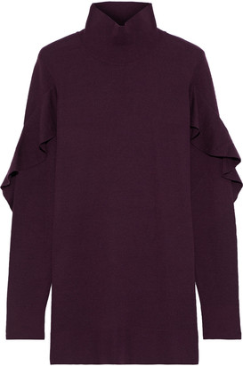 Elie Tahari Kacey Ruffle-trimmed Merino Wool Turtleneck Sweater