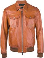 DSQUARED2 biker bomber jacket - men - Cotton/Leather/Polyamide/Wool - 52