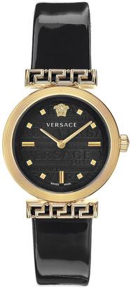 Versace Meander 34mm Watch in Yellow Gold & Black | FWRD