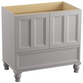 """Kohler Damask Plains 36"""" Vanity Base Only with Furniture Legs, 2 Doors and 1 Drawer Finish: Mohair Grey"""